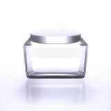 瓶子特写镜头在白色bac的润湿的面孔秀丽奶油 免版税库存照片