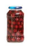 瓶子用保留的樱桃 免版税库存照片