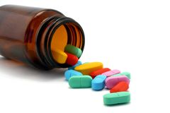 瓶子药片 库存图片
