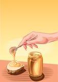 瓶子蜂蜜和面包 库存图片