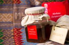 瓶子蜂蜜 库存图片