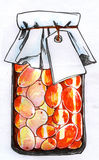 瓶子被保存的莓果剪影 库存照片