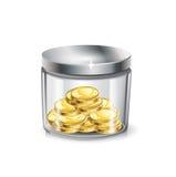 瓶子金钱;被隔绝的金黄硬币 库存图片