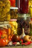 瓶子以泡菜品种  红萝卜,领域大蒜,在glas的荷兰芹 保留的食物 Fermented保存了素食主义者fo 库存照片