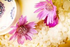 瓶子浴海盐和紫罗兰色花 库存图片