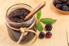 瓶子黑莓果酱 图库摄影