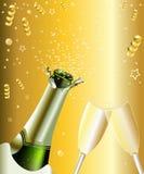 瓶庆祝香槟槽玻璃现有量 库存图片