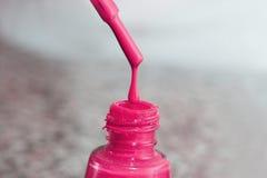 瓶指甲盖的亮漆 妇女` s丙烯酸漆,钉子的胶凝体油漆 指甲盖的紫胶混杂的颜色 关心 库存图片