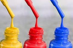瓶指甲盖的亮漆 妇女` s丙烯酸漆,钉子的胶凝体油漆 指甲盖的紫胶混杂的颜色 喜欢wome 库存图片