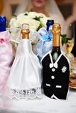瓶新娘香槟服装新郎 库存照片