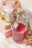 瓶桃红色液体皂和瓶海盐 库存图片