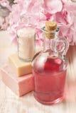 瓶桃红色液体皂和瓶海盐 免版税库存照片