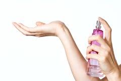 瓶概念化妆用品现有量香水妇女 免版税图库摄影