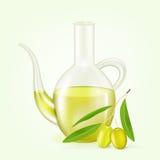 瓶橄榄油。传染媒介例证 图库摄影
