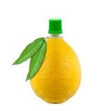 瓶汁液柠檬 库存图片