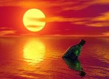 瓶浮动的消息海洋 库存图片