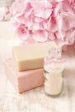 瓶海盐和手工制造肥皂两个酒吧  霍滕西亚流程 库存图片