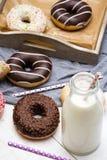 瓶牛奶和五颜六色的油炸圈饼用巧克力和结冰 库存图片