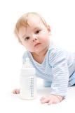瓶男孩牛奶 库存图片