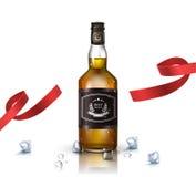 瓶白兰地酒,波旁酒,威士忌酒,与红色丝带的科涅克白兰地,隔绝在白色 海报或小册子模板 库存图片