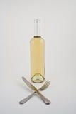 瓶白葡萄酒 免版税库存照片