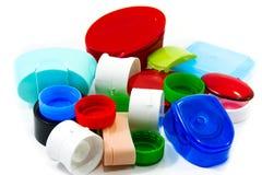 瓶的盖帽,塑料回收 库存照片