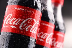 瓶碳酸化合的软饮料可口可乐 库存照片