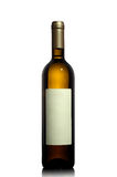 瓶空的标签白葡萄酒 库存图片