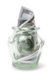 瓶美元附注 免版税图库摄影