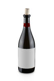 瓶被开张的红葡萄酒 图库摄影