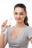 瓶装水妇女 免版税库存照片