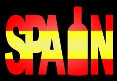 瓶西班牙文本酒 库存图片