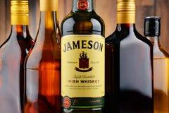 瓶詹姆森爱尔兰人威士忌酒 免版税库存图片