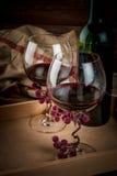 瓶酒和两块玻璃,接近的看法 库存图片