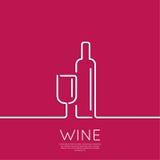 瓶酒用玻璃酒 免版税库存图片