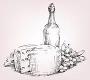 瓶酒,葡萄,乳酪 库存图片