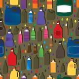 瓶集合无缝的样式 免版税库存图片