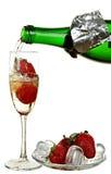 瓶香槟、酒、草莓和冰 免版税图库摄影