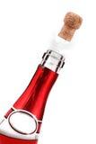 瓶香槟弹出的黄柏 库存图片