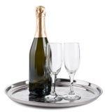 瓶香槟玻璃二 库存图片