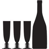 瓶香槟玻璃概述剪影 免版税库存图片