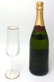 瓶香槟玻璃 免版税库存照片