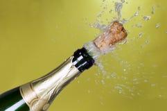 瓶香槟黄柏展开绿色 免版税图库摄影