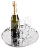 瓶香槟玻璃二 免版税库存照片