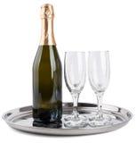 瓶香槟玻璃二 库存照片