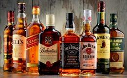 瓶从美国、爱尔兰和苏格兰的几个威士忌酒品牌 免版税库存照片