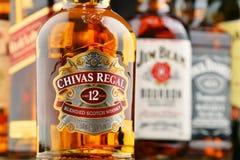 瓶从美国和苏格兰的几个威士忌酒品牌 库存照片