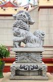 瓷中国狮子雕象石头寺庙thail 库存图片