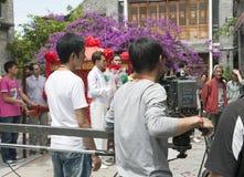 瓷乘员组影片摄制显示电视 图库摄影