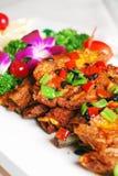 瓷可口食物油煎的猪排 图库摄影